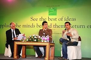 (from the left)-Actor & Director, Aamir Khan, Ad-Guru & Lyricist, Prasoon Joshi in discussion with Mr. Arun Maira, Chairman
