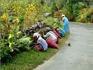 Village women cleaning the area