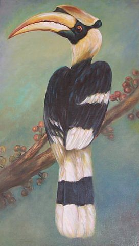 A painting of the hornbill taken at the art gallery