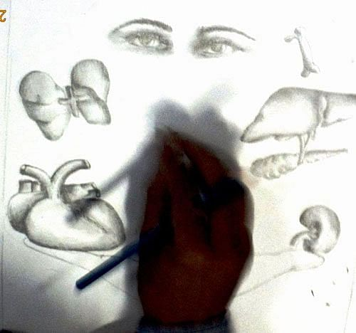 A participant at the sketch competition