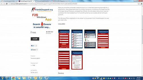 A snapshot of the F2S website