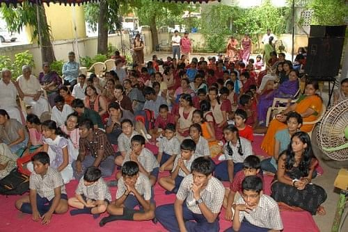 Children assembled to listen to the music