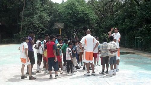 A basketball training session in progress