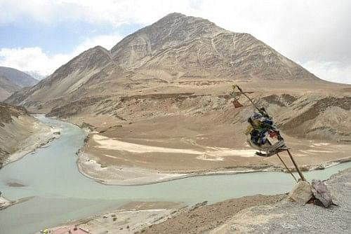 Sangam – the point where the Zanskar River meets the Indus River. The meeting point is distinct in the changing colours of the water.