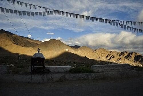 Prayer flags flutter everywhere in Leh. People believe that the wind carries the prayers and blessings with it and spreads them around.