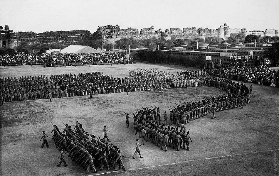 The first Republic Day Parade on 26 January 1950 where Dr Rajendra Prasad is taking the salute without any security surrounding him.