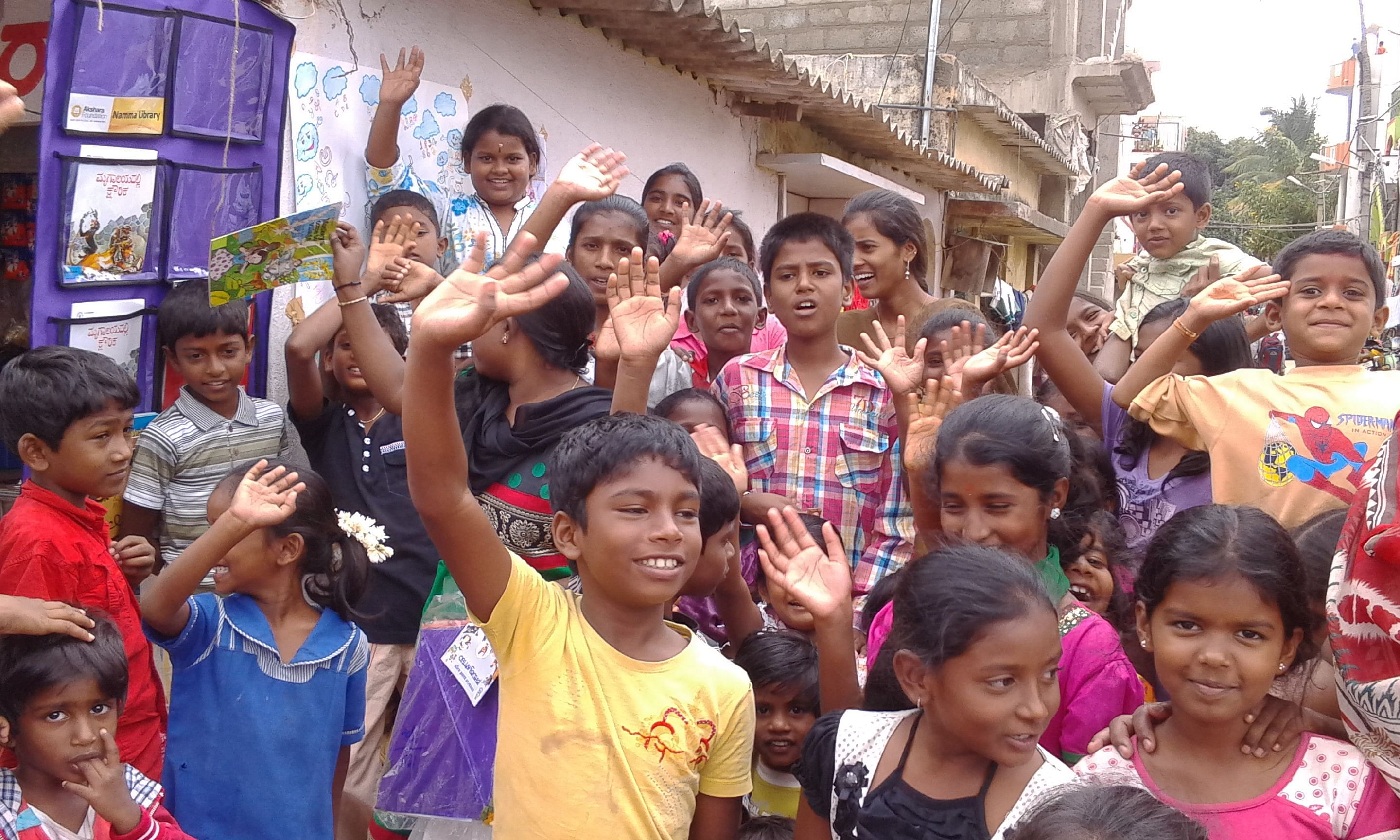 Various story telling sessions organized by the Akshara Foundation boost the confidence of kids as well as engages adults.