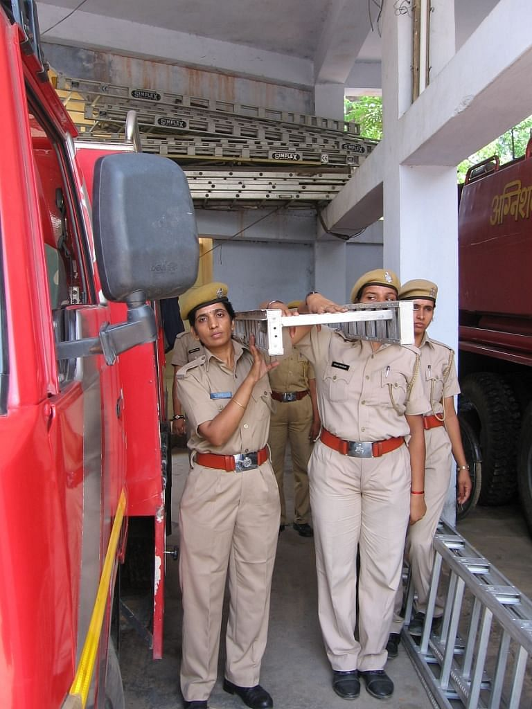 Sita (left) and her colleagues wanted to break the stereotypes by joining the fire department which had been the only one in the state where women had not been given a chance to serve, owing to the serious risks involved. (Credit: Abha Sharma\WFS)