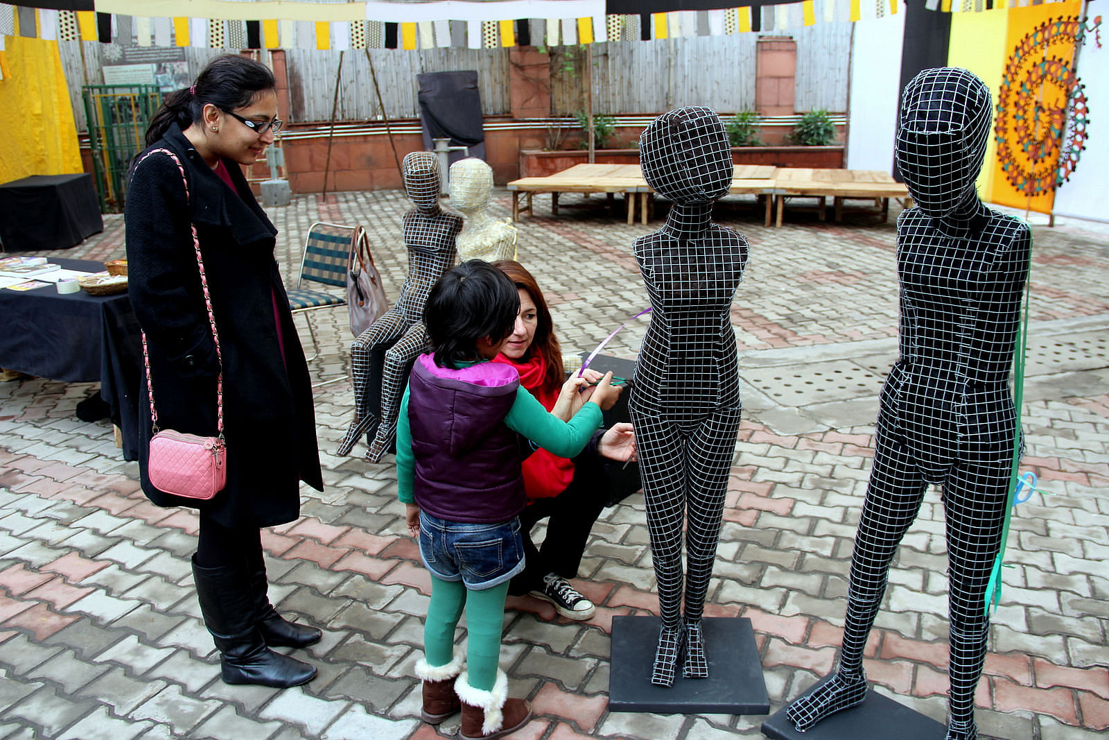 The series of sculptures titled 'Be Aware', by Italian artist, Janine Von Thungen, are representative of all defenceless teenage girls, who end up falling prey to trafficking and prostitution. (Courtesy: Apne Aap Worldwide)