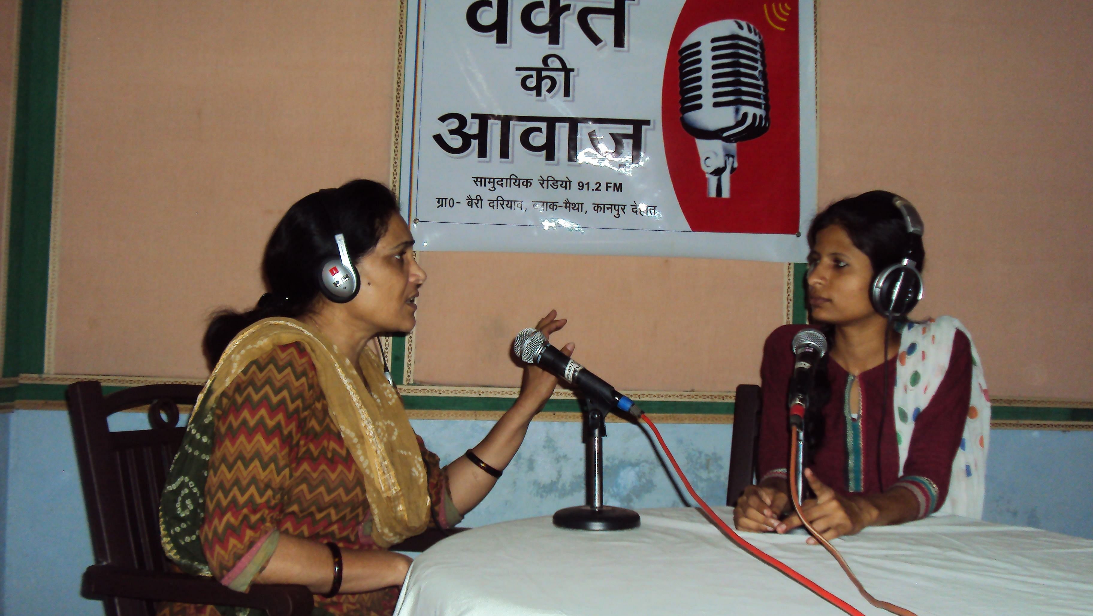 Radha Shukla (left) is the station manager of Waqt Ki Awaaz, which broadcasts programmes in Awadhi language to 300 villages in the Kanpur Dehat district in Uttar Pradesh. (Courtesy: Sharamik Bharti)