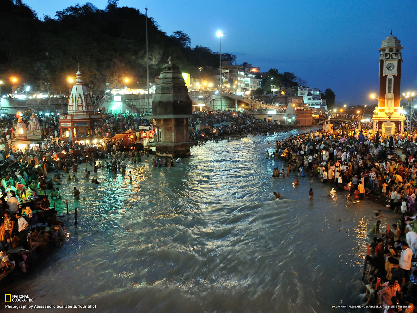 Hindus gather by the millions along the shores of the Ganges River in the city of Haridwar, in Uttarakhand, north-central India. They consider Haridwar one of HinduismÕs seven holiest sites and flock to the river to ritualistically wash away their sins.