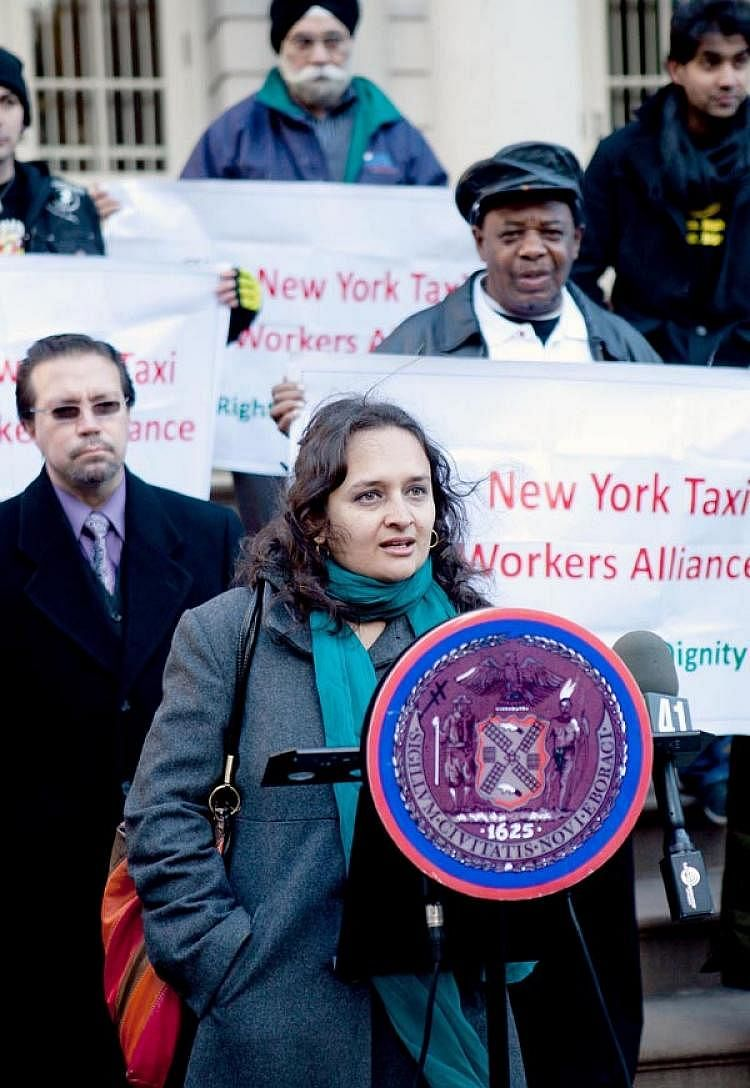 LEADING A PROTEST - BHAIRAVI DESAI - EXECUTIVE DIRECTOR - NEW YORK TAXI DRIVERS ALLIANCE