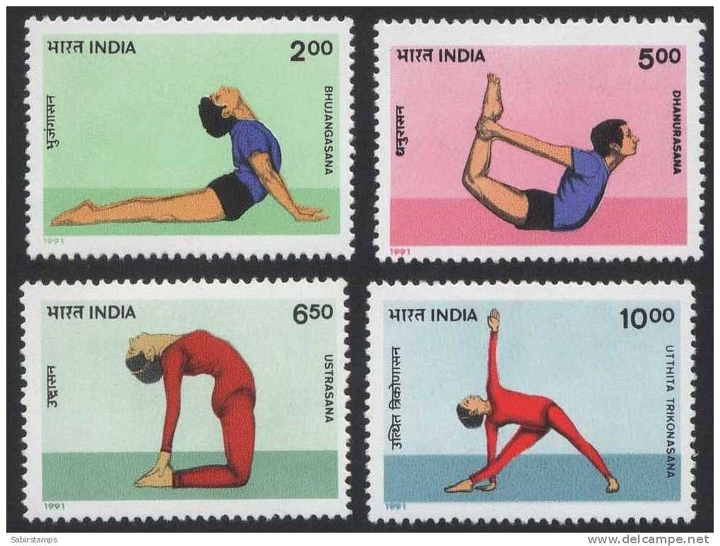 SET OF FOUR STAMPS ON YOGA
