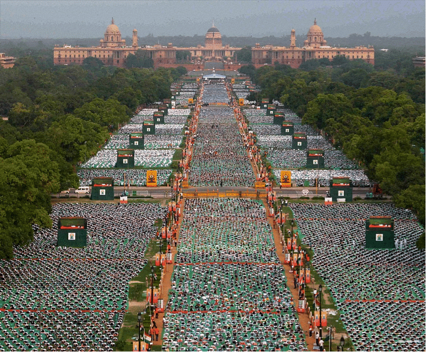 THOUSANDS OF PARTICIPANTS AT THE RAJPATH ON THE  INTERNATIONAL DAY OF YOGA (IDY) ON THE JUNE 21, 2015