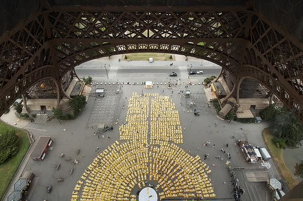 Bird's eye view of the yoga day celebration under the Eiffel Tower in Paris