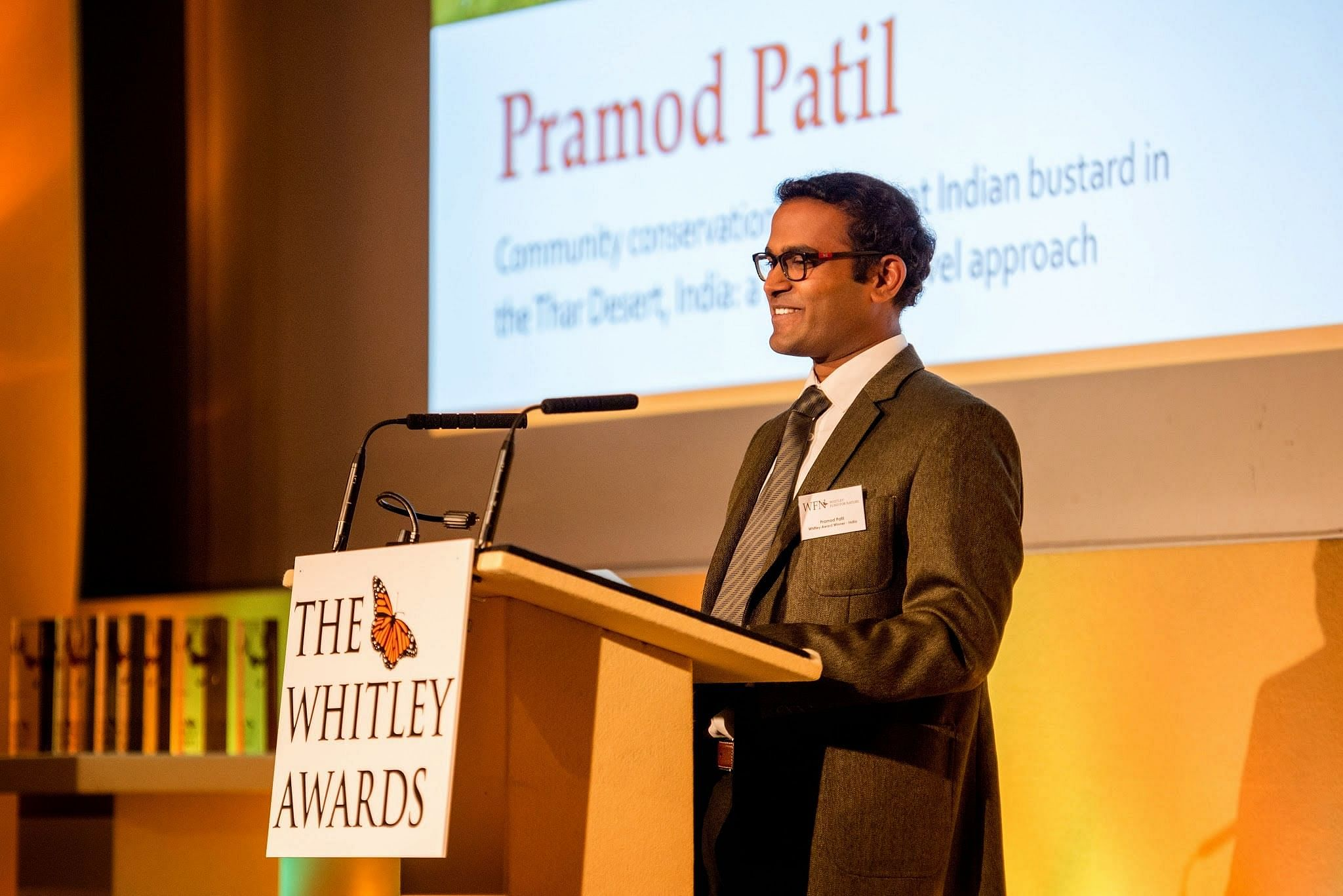 Dr. Patil speaking at the Whitley Award function