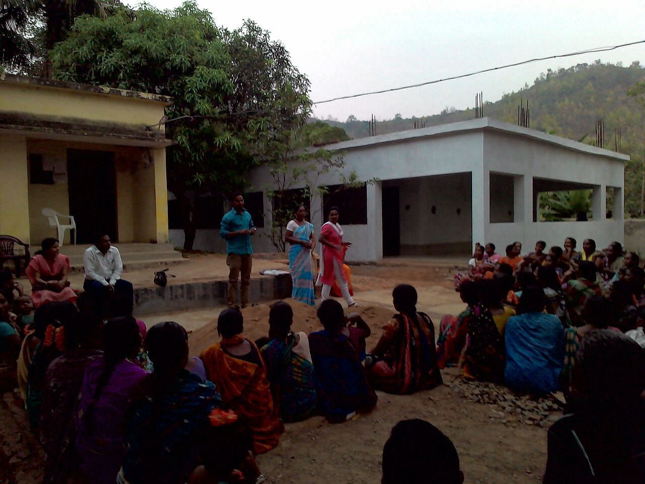 An evening meeting with villagers as most people work during the day
