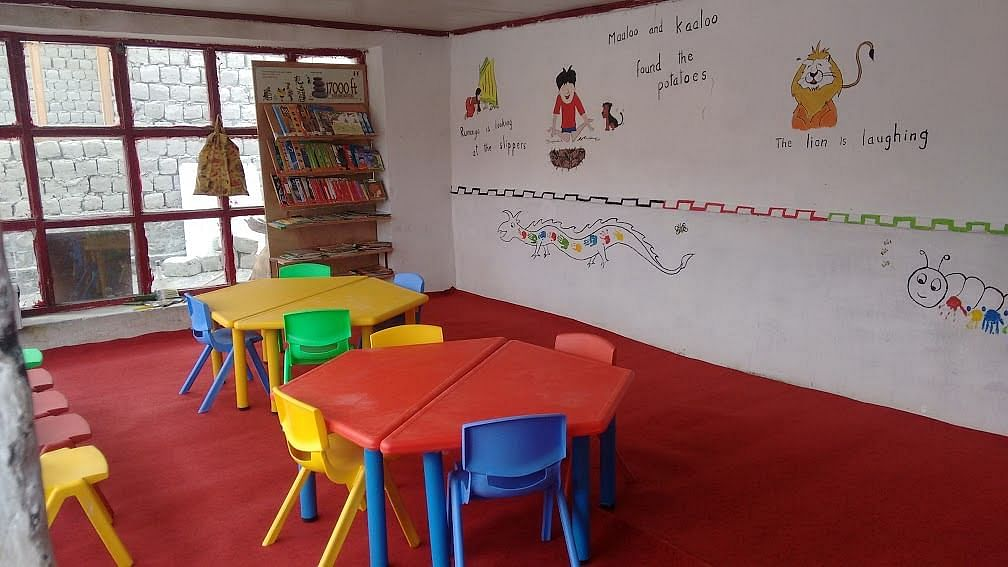 Primary School Maan, near the famous Pangong Tso Lake, recently got a makeover. The only classroom in the school was freshly painted and provided with colourful furniture. altitude - 14126. no. of children - 13