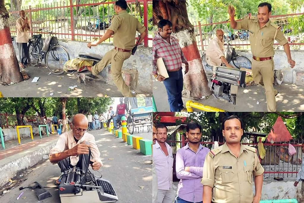 UP police in lucknow breaks typewriter(his livelihood) of an old man