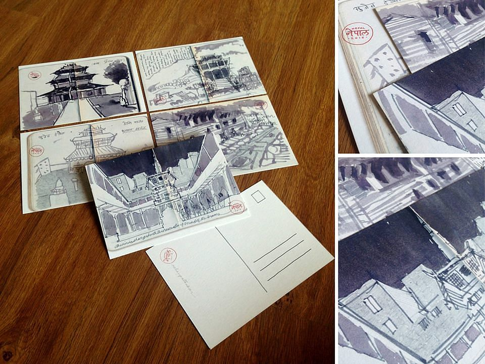 Assorted set of five postcards; two views of the Patan Durbar Square, the view of Thaity.
