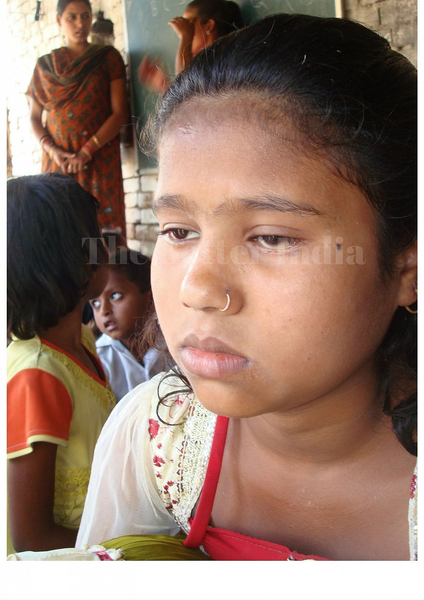 Eight-year-old Nita after her eye operation, that happened thanks to Gudiya's school. (Credit: Anjali Singh\WFS)