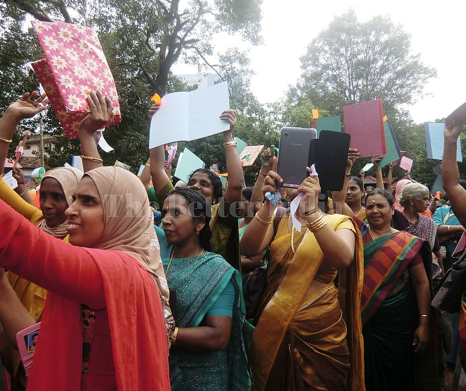 All women Kudumbashree groups vociferously raise their local issues ranging from better healthcare and education to sanitation and PDS disbursal besides backing one of their own elected into the panchayat. (Credit: Ajitha Menon\WFS)