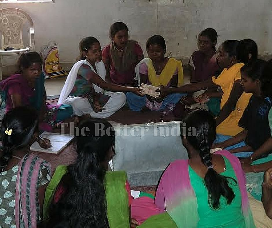 Members of a Kishori Mandal have to contribute Rs 10 each week and can borrow from the corpus at five per cent interest. Usually, girls take money to finance their education or pay for repairs at home. (Credit: Ajitha Menon\WFS)