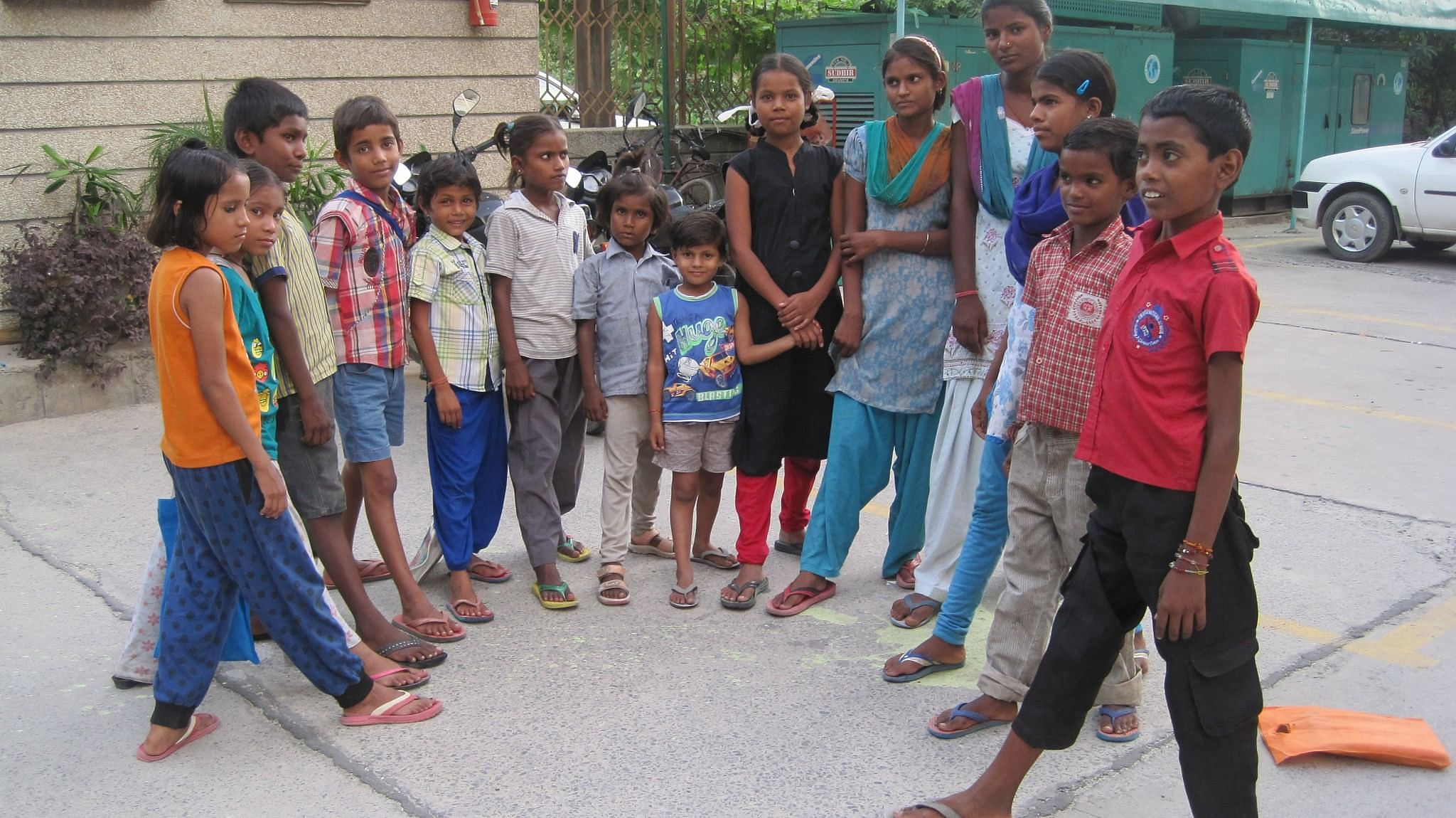 The kids show off their brand new chappals