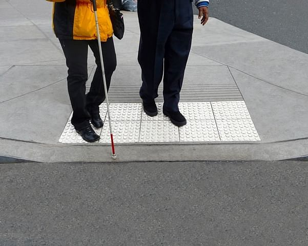 Blind people walking