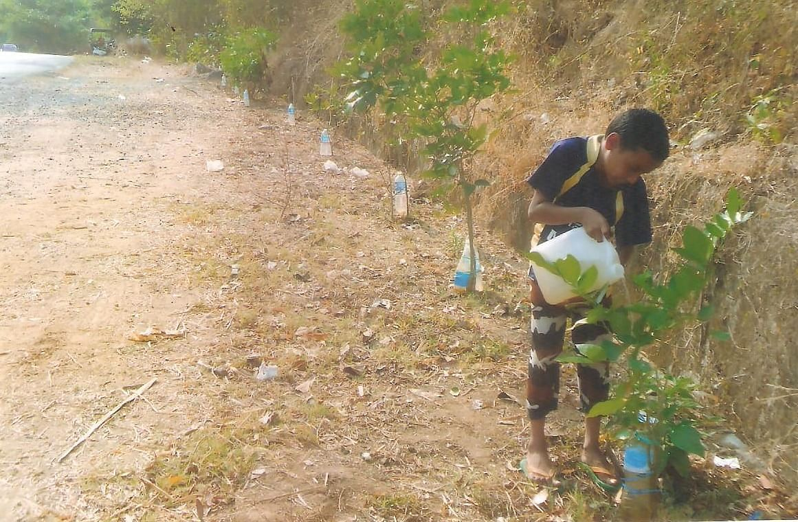 His son helping him to refill water in the bottle tied to young trees