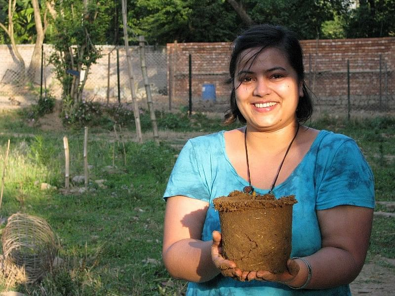 Use cow poop pots and dump plastic ones