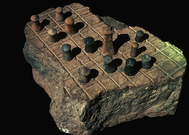 ca. 1970-1995, Harappa Museum, Pakistan --- Chess Board, Pakistan --- Image by © CORBIS