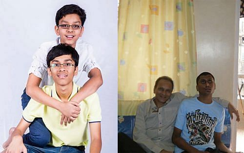 Aahan with his brother, Vishal with his father