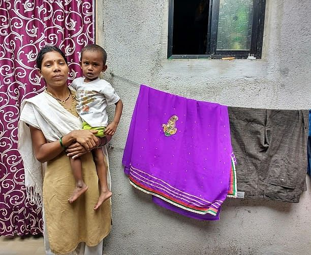 Dishant with his mother in Kothrud, Pune.