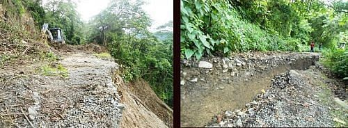 With roads buried by landslide for nearly two months no one had been able to go for work, buy their daily needs or get to the hospital at Kakching in Thoubal.