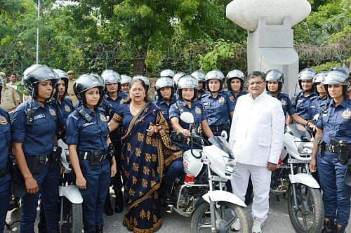 Rajasthan chief minister Vasundhara Raje was there to encourage the patrolwomen on their first day of duty. (Credit: Renu Rakesh\WFS)