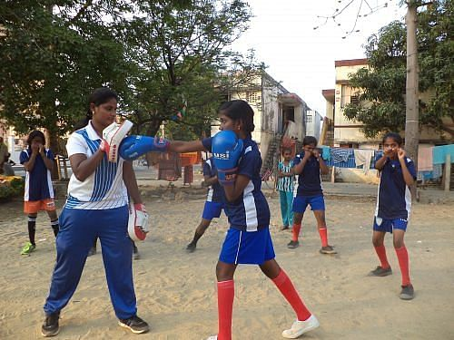 Girls in select lower-income neighbourhoods of Chennai are receiving training in boxing. (Credit: Hema Vijay\WFS)