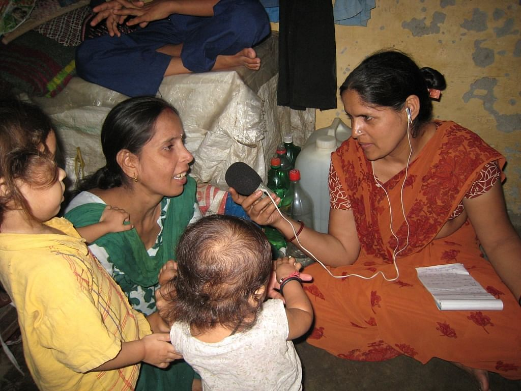 Sharmila at field recording for Chahat Chowk
