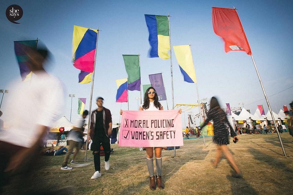 SheSays campaigned at the NH7 weekender, Pune to spread awareness about the need to ensure the safety of women..