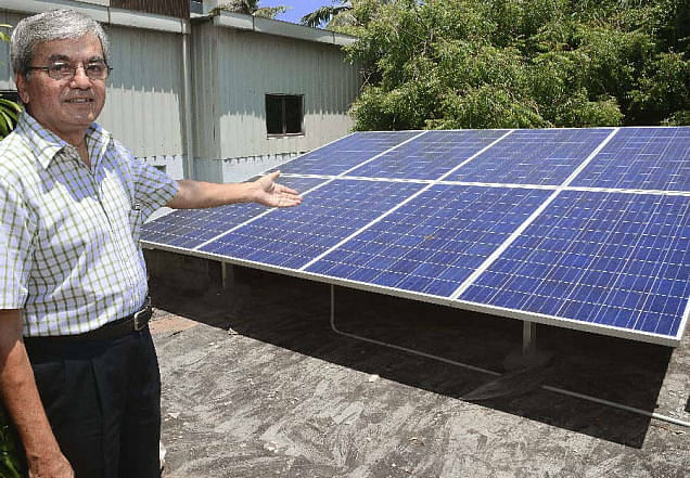 CHENNAI, TAMIL NADU, 23/04/2015: D. Suresh, a resident of Kilpauk in Chennai has solar panels to produce renewable energy and a vast collection of plants that adorns his terrace. Photo: R. Ravindran