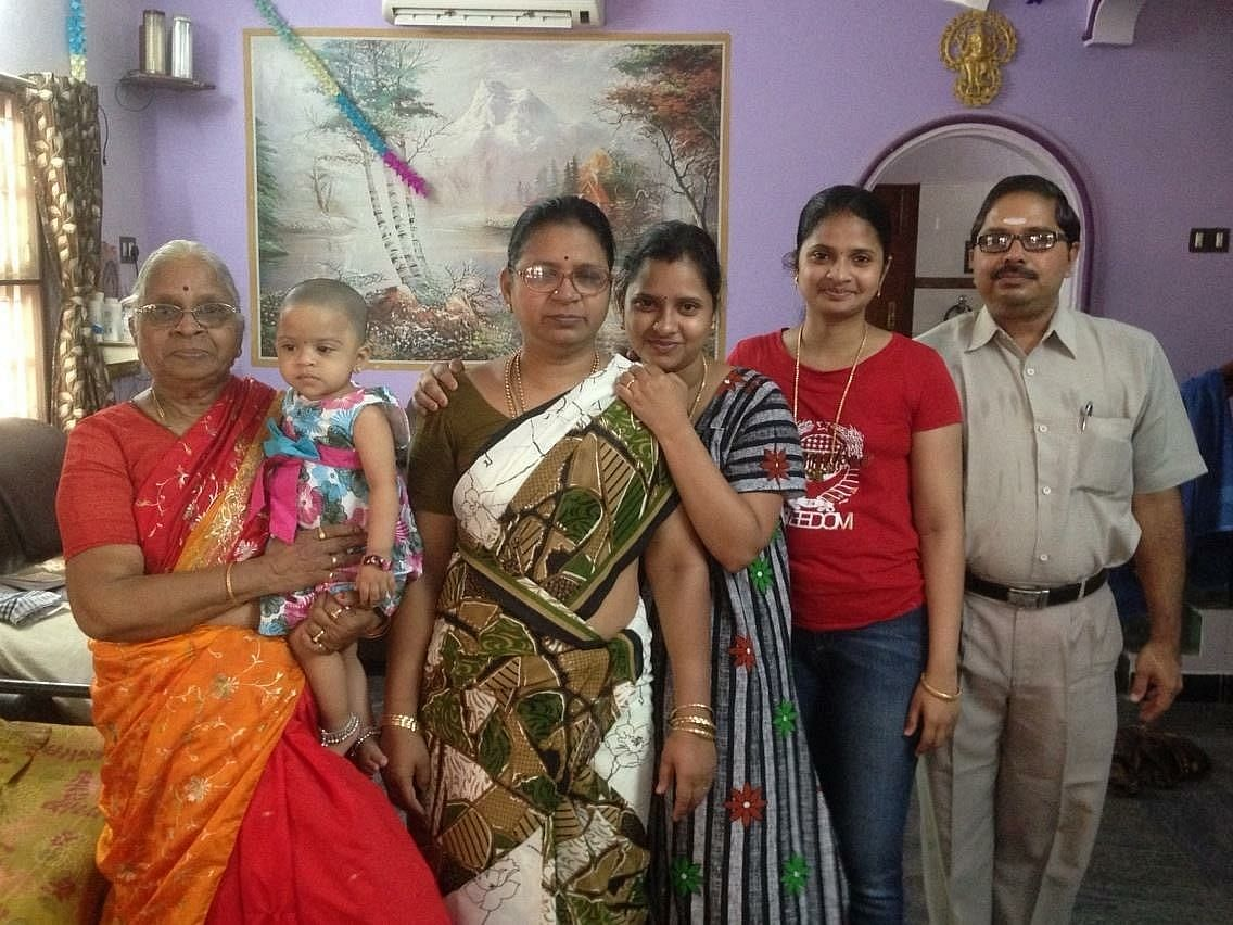 Mangalam Srinivasan with daughters and other family members