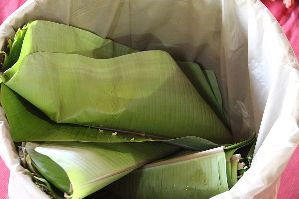 Segregate waste. These banana leaves are going to be composted and enrich the soil!